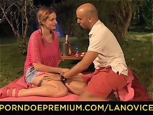 LA newcummer - Outside fuck session and jism in throat