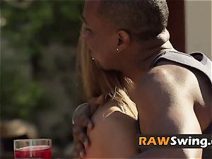 Dark duo engages in scorching make-out with other participants