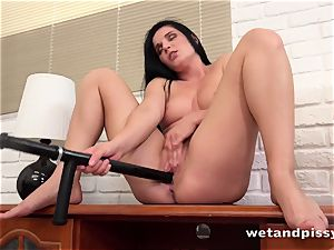 bootylicious dark-haired urinating and masturbation session