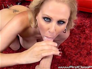 nasty pussy pot milf Julia Ann deep-throating on a meaty trouser snake and getting a massive fountain to her mounds