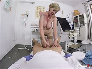 big-chested grannie gets point of view boned by her doc