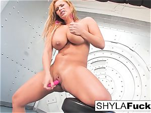 Shyla gives you a magnificent disrobe and solo