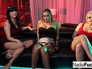 three sex industry stars decide to nail each other at a night club