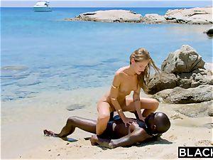 BLACKED intense black dude drills platinum-blonde tourist on the beach