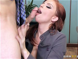 redhead boss Britney Amber plows a nasty worker