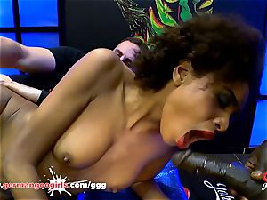 black stunner Luna Corazon likes man milk - German Goo ladies