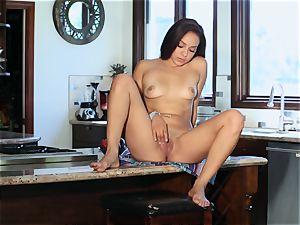 Kitchen worktop masturbation from dark-haired Dani labyrinth