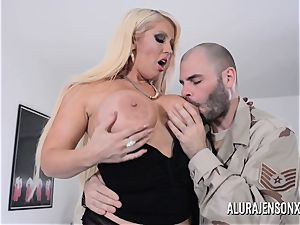 chesty blond Alura Jenson luvs a boy in uniform