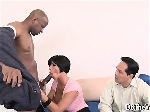 dark haired wife takes meaty ebony manstick