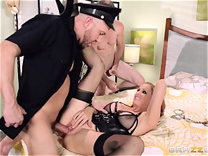 Julia Ann gets a cop in on her horny three way