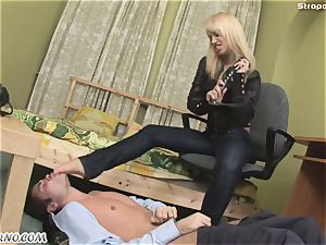 evil light-haired in a leather suit penalizes her fuck-fest victim