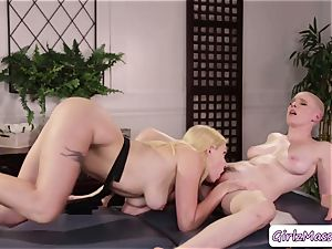 masseur Giselle Palmer loves licking Riley Nixons wet fuckbox in the table