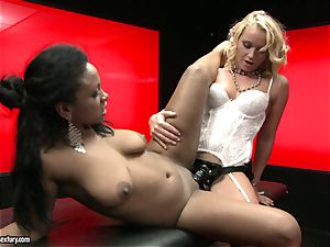 tough Kathia Nobili thrusts her cord on man rod deep down her colleague gullet