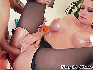 buxom ultra-cutie screwed in ripped stocking