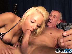 Grandad plays with british blond sweetie Lou Lou