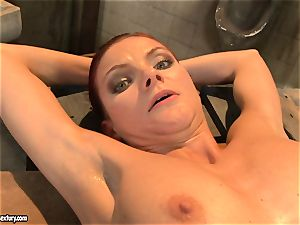 Mandy Bright bind a steamy honey with strap on the table