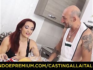 casting ALLA ITALIANA - huge-titted rookie goes for ass-fuck romp