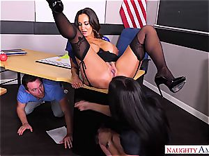 Bombastic mummies Ava Addams and Rachel Starr share a young pink cigar