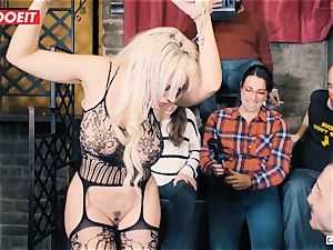 huge-chested blond gets hard-core tearing up in bondage soiree