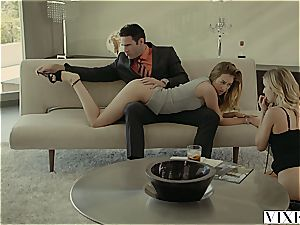 Rich boss fucks two torrid blondes