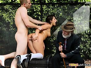 jokey situation of twat inserted daughter-in-law and her granddad watches at bus stop - Abella Danger and Bill Bailey
