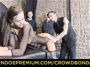 CROWD bondage - extreme bdsm shag wheel with Tina Kay