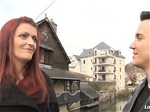 LA new-comer - mischievous French sweetheart gets jism on bumpers
