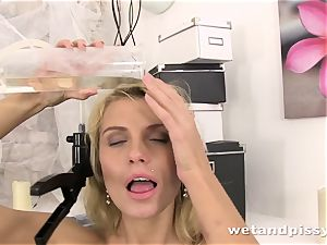 Karina Grand tastes and rolls around in her own pee