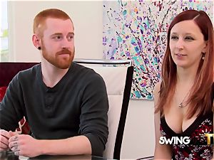 red-haired wife heads all slutty at meet and greet before heading to red room