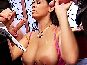 huge-chested chief Raylene conforms 3 accomplices in her office