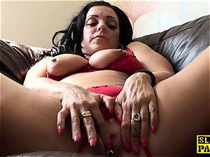 stroking uk crud frolicking her wet honeypot