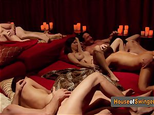 All yankee couples get together to have the best swinger party ever