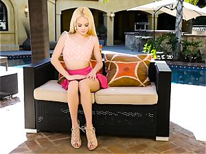 Elsa Jean making herself spunk by the pool