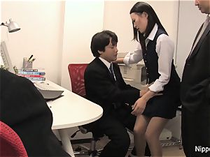 The new office intern gets initiated by inhaling man-meat