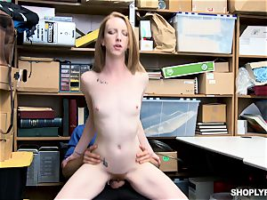 Katy kiss caught by draped mall cop and drilled deep