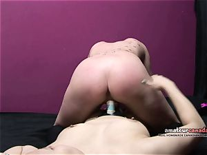 asian female dom pov penetrates brief hair slave kitty strap on dildo