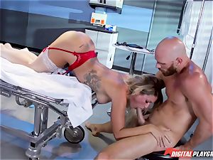 expert doctor tears up promiscuous chesty nurse Kissa Sins on a clinic couch
