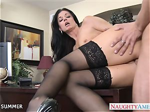 Stockinged India Summer ravaging on the desk