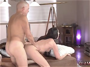 father faux-cock and aged dude cooking Vacation in mountains