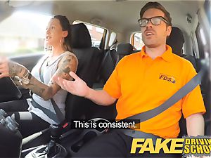faux Driving school Advanced naughty lesson in internal ejaculation