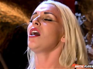 inviting light-haired Stevie Shae getting into ball sack deep grief