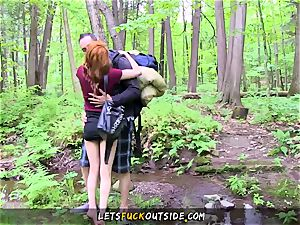 smallish red-haired pummeled in the woods