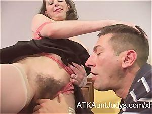 hairy milf tempts a horny boy