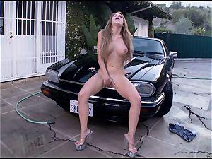 Randy Alexa Nicole tortures her cascading pantie pot