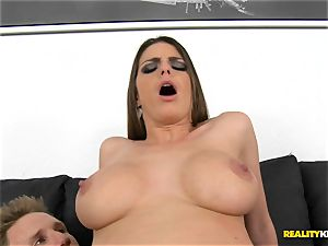 brown-haired stunner Brooklyn chase in luxurious attire smashed deep
