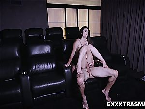 puny stepsis rides bro's meaty stick in a video theater