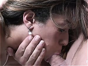 Missy cleaning his cock real lovely
