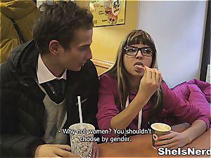 She Is Nerdy - jism bathroom on her eyeglasses
