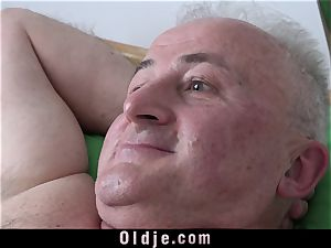 chesty youthfull Nurse pounding grandpa cumming In Her mouth
