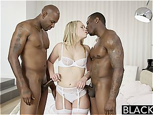 BLACKED sumptuous blondie Dakota James moans With 2 massive black hard-ons